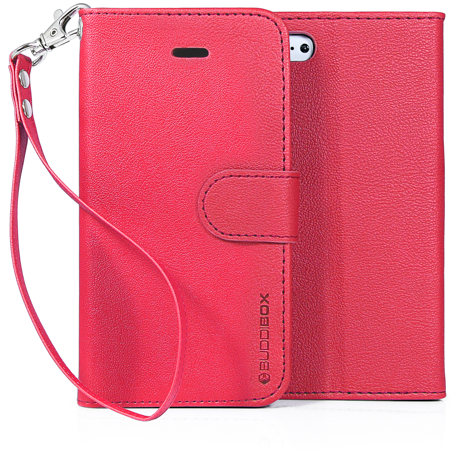 BUDDIBOX iPhone 5C Case Premium PU Durable Leather Wallet Folio Protective Cover Case for Apple iPhone 5C