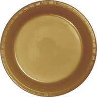 """Club Pack of 600 Glittering Gold Disposable Plastic Party Dinner Plates 8.75"""""""