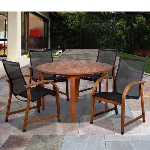 Bahamas 5-Piece Eucalyptus Round Patio Dining Room Set by INTERNATIONAL HOME