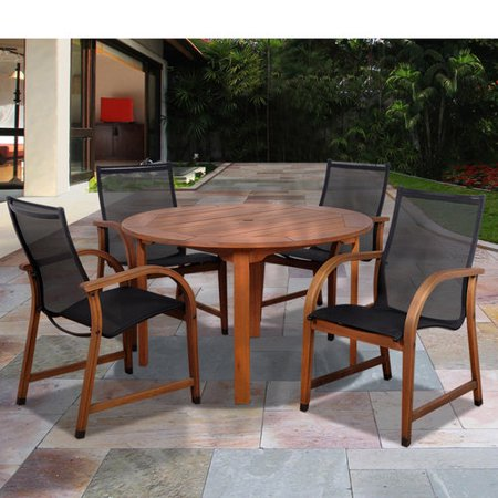 bahamas 5 piece eucalyptus round patio dining set