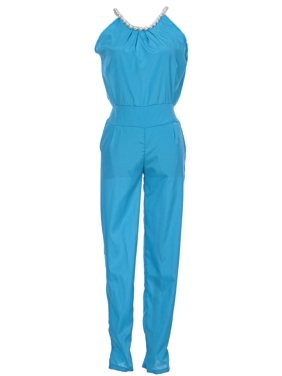 S/M Fit Blue Green Flintstones Inspired Faux Pearl Mid Waist Jumpsuit