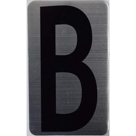House Number Letter Sign/Apartment Number Letter Sign- Letter B (Silver, Size 3x5) -The Hippo (Nouveau Silver Letters)