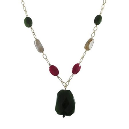 Green Jade Semi Precious Teardrop Stone with Gold Plated Brass Necklace, 20 in.