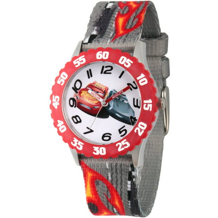 Ang Bezel (Cars 3 Lightning McQueen and Jackson Storm Boys' Stainless Steel Time Teacher Watch, Red Bezel, Gray Printed Fabric Strap )