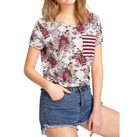 Nlife Women's Round Neck Short Sleeve Floral Print Pocket Front Tee