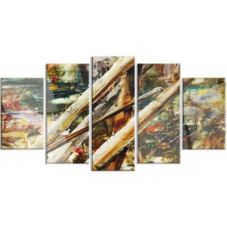 - Design Art Tools and Abstract Pattern' 5 Piece Painting Print on Metal Set