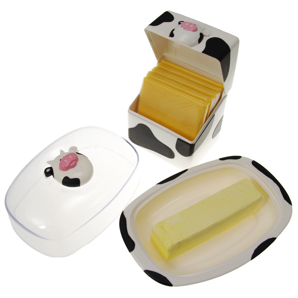 Joie Moo Moo Cow Covered Butter Dish & Cheese Slices Container Plastic Holders Bundle