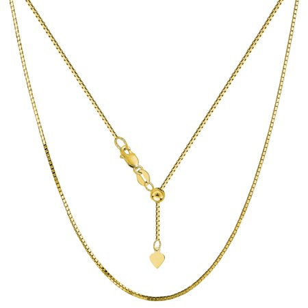 14k Gold Box Chain Necklace (14k Yellow Gold Adjustable Box Chain Necklace, 0.85mm,)