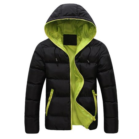 Men Long-Sleeved Color Block Zip Up Cargo Pocket Hooded Outwear (Hooded Cargo Jacket)