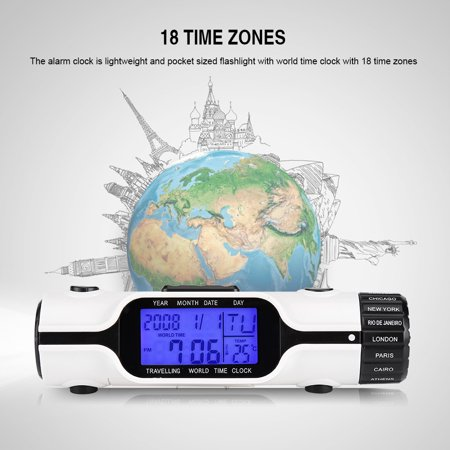 Flashlight LED Digit World Time Travel Alarm Clock Thermometer Outdoor ()