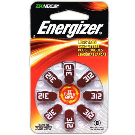 Energizer EZ Turn & Lock + Power Seal Zinc Air Hearing Aid Batteries, 1.4V, Mercury-free, Size 312, Pack of 8 ()