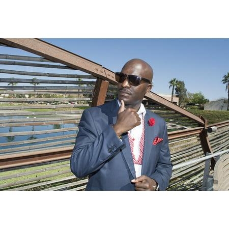 LAMINATED POSTER Men Handsome Color Black Skin Model Tie Suit Poster Print 24 x 36