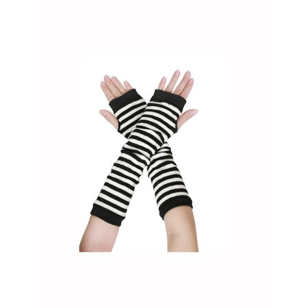 Women's Elbow Length Knitted Thumb Hole Stripes Arm Warmer Fingerless Gloves Pair Black Striped Arm Warmers
