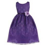 Girls Purple Floral Lace Junior Bridesmaid Dress 10