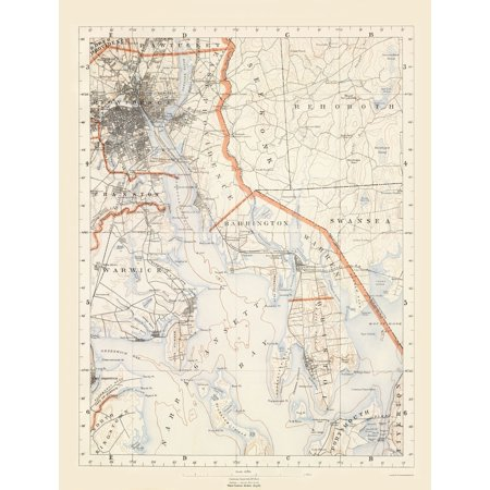 Topographic Map Rhode Island.Topographical Map Rhode Island 3 Of 10 Sheet Usgs 1891 23 X