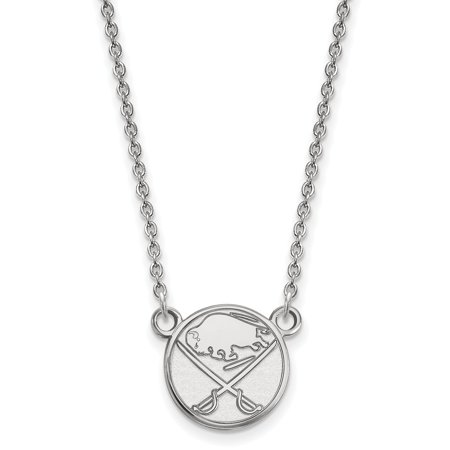 Solid 10k White Gold NHL Buffalo Sabres Small Pendant with Necklace