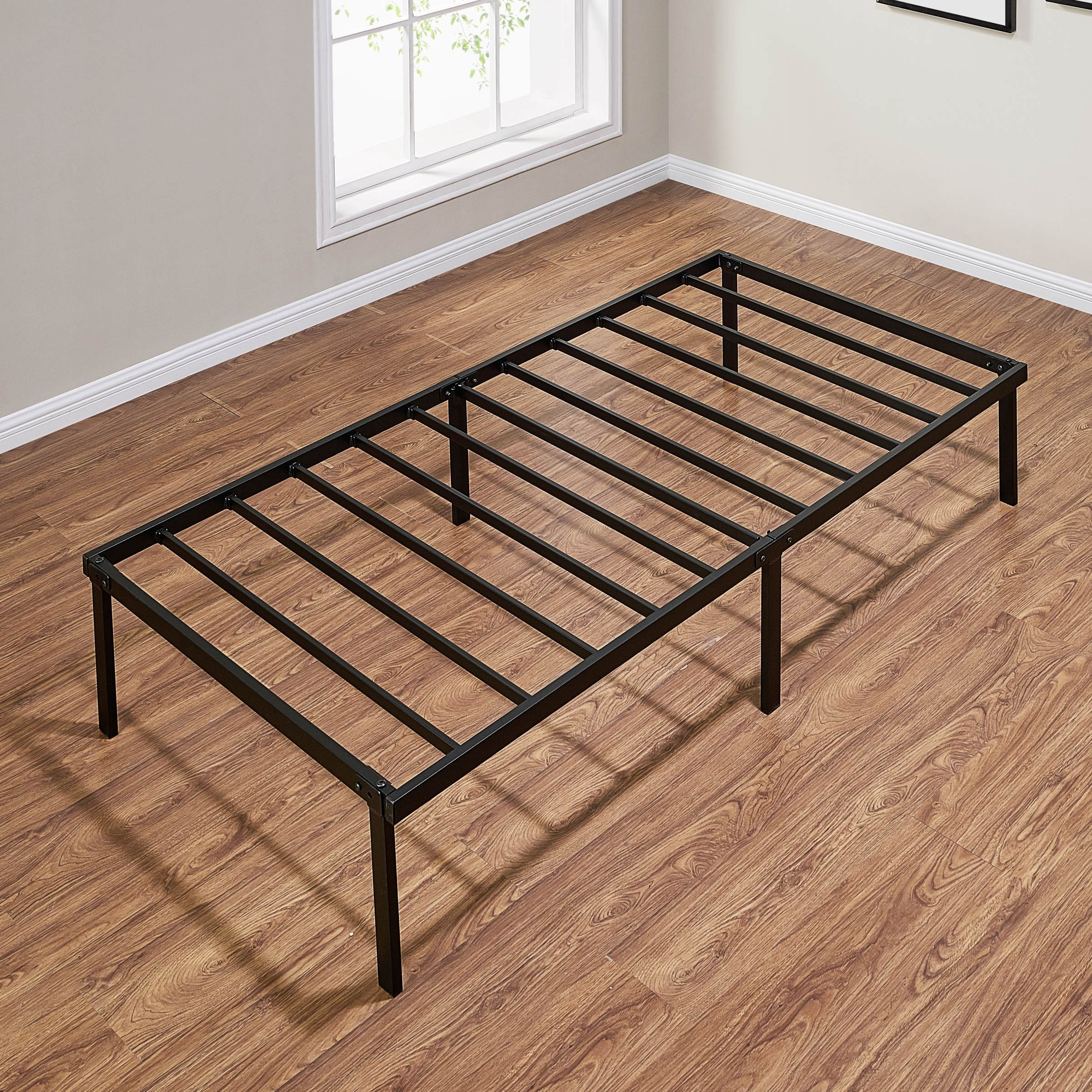 Mainstays 14 Heavy Duty Slat Bed Frame Black Steel Twin Walmart Com Walmart Com