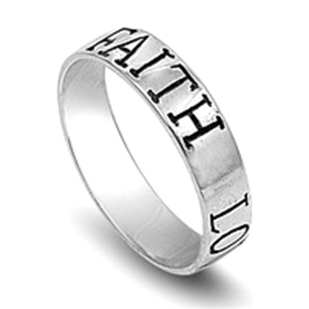 Sterling Silver Ring Engraved with a message of Faith, Love and Hope, Size 7
