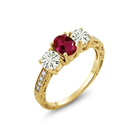 18K Yellow Gold Plated Silver Ring Red Created Ruby Created Moissanite KLM 1.00ct DEW