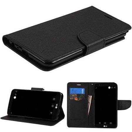 Fli Series - LG Stylo 3 Phone Case Leather Fli pWallet Credit Card / Cash Slots Cover Stand Pouch Folio Book Style Magnetic Buckle BLACK