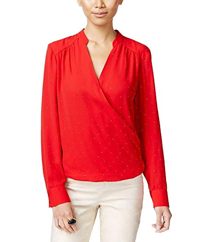 INC International Concepts Petite Surplice Blouse in Real Red with Gold Embellishments (6 Petite)