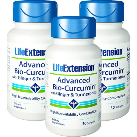 Life Extension Advanced Bio-Curcumin With Ginger & Turmerones 30 Softgels 3 Bottles