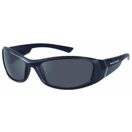 Mens Kickstart Sunglasses Shiny Black Dark Grey Lens HDV004BLK-3, Harley (Luxury Sunglasses Shop)