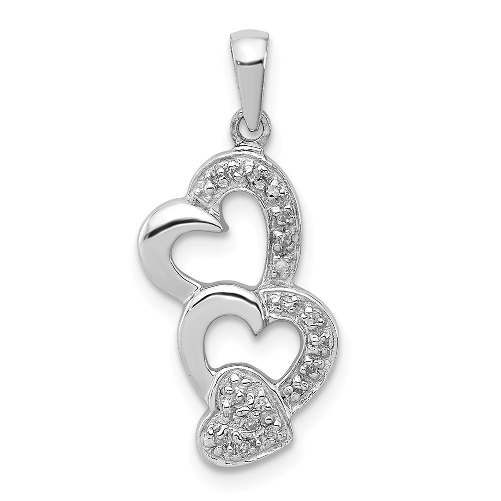 Sterling Silver Diamond Heart Pendant. Carat Wt- 0.05ct