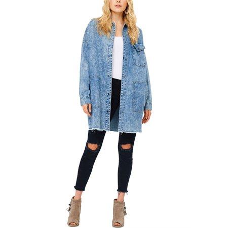 Womens Fashion Oversize Boyfriend Long Hem Acid Denim Jacket J-3622