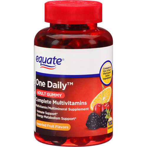 Equate One Daily Adult Gummy Complete Multivitamins Supplement Gummies, 100 count