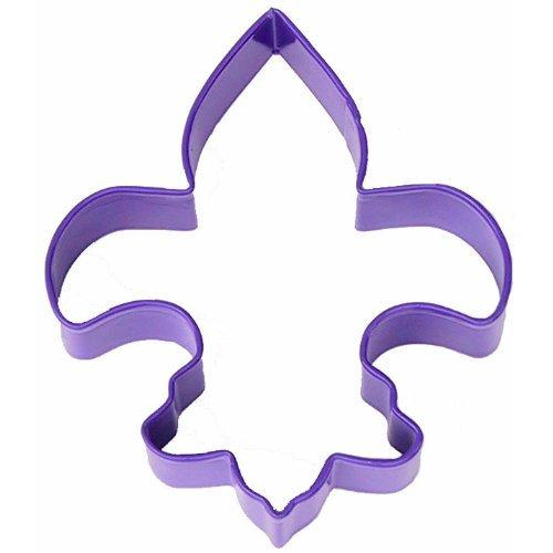1 X Fleur D Lis Purple Poly Resin Coated Tin Cookie Cutter 4.5""