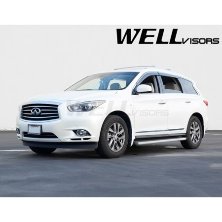 WellVisors Replacement for 2013-Present Infiniti JX35 QX60 CHROME TRIM Side Window Visor Rain Guard 3-847IN010