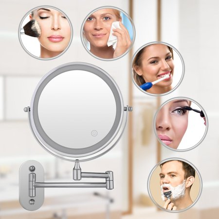 Bathroom Wall LED Make Up Cosmetic Folding Vanity Lamp Retractable Double Sided  Magnification Beauty Mirror HFON