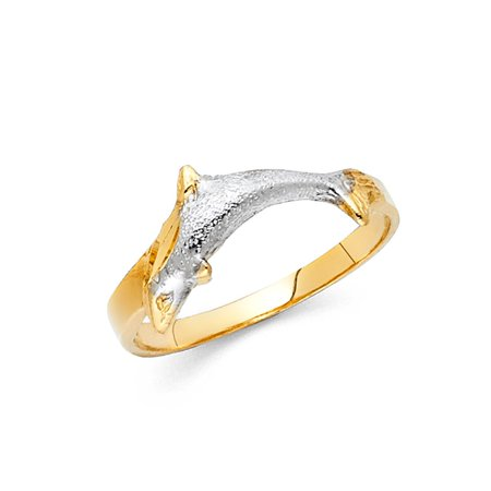 Single Dolphin 8mm High Polish , Satin & Diamond Cut Finish 14k Two Tone Solid Gold Ring Size 8 Available All -