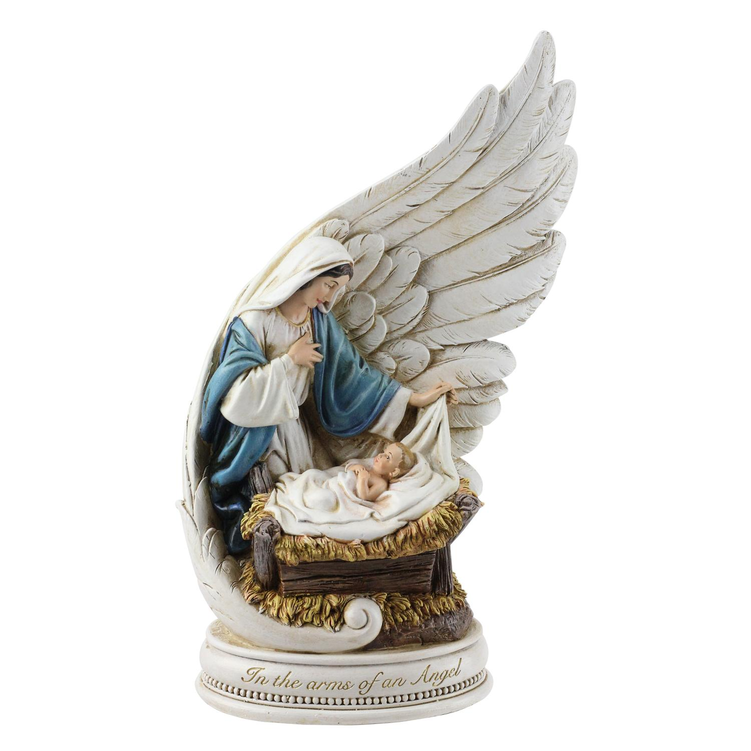 "10.25"" Angel Wing with Mary and Jesus Religious Christmas Figure Decoration"
