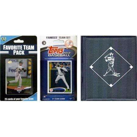 C & I Collectables 2012YANKEESTSC MLB New York Yankees Licensed 2012 Topps Team Set and Favorite Player Trading Cards Plus Storage Album