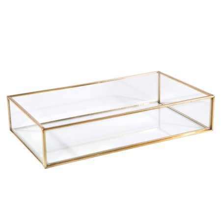 Home Details Vintage - Copper Large Rectangle Glass Tray 9.4X5.5X1.9 Inch ()