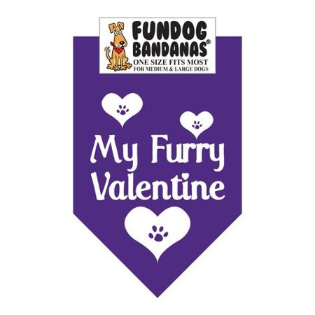Fun Dog Bandana - My Furry Valentine - One Size Fits Most for Med to Lg Dogs, purple pet scarf ()