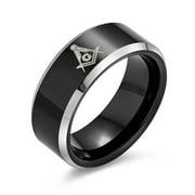 Laser Etched Square & Compass Freemason Masonic Black Titanium Band Ring for Men Comfort Fit 8MM