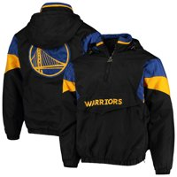 Golden State Warriors Starter Blackout Breakaway Hooded Anorak Quarter-Zip Jacket - Black