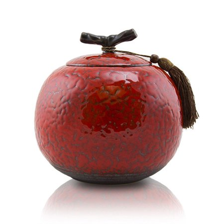 Ceramic Cremation Urn For Ashes - Large 200 Pounds - Cherry Red Cherry - Engraving Sold Separately - Large Red Cherry