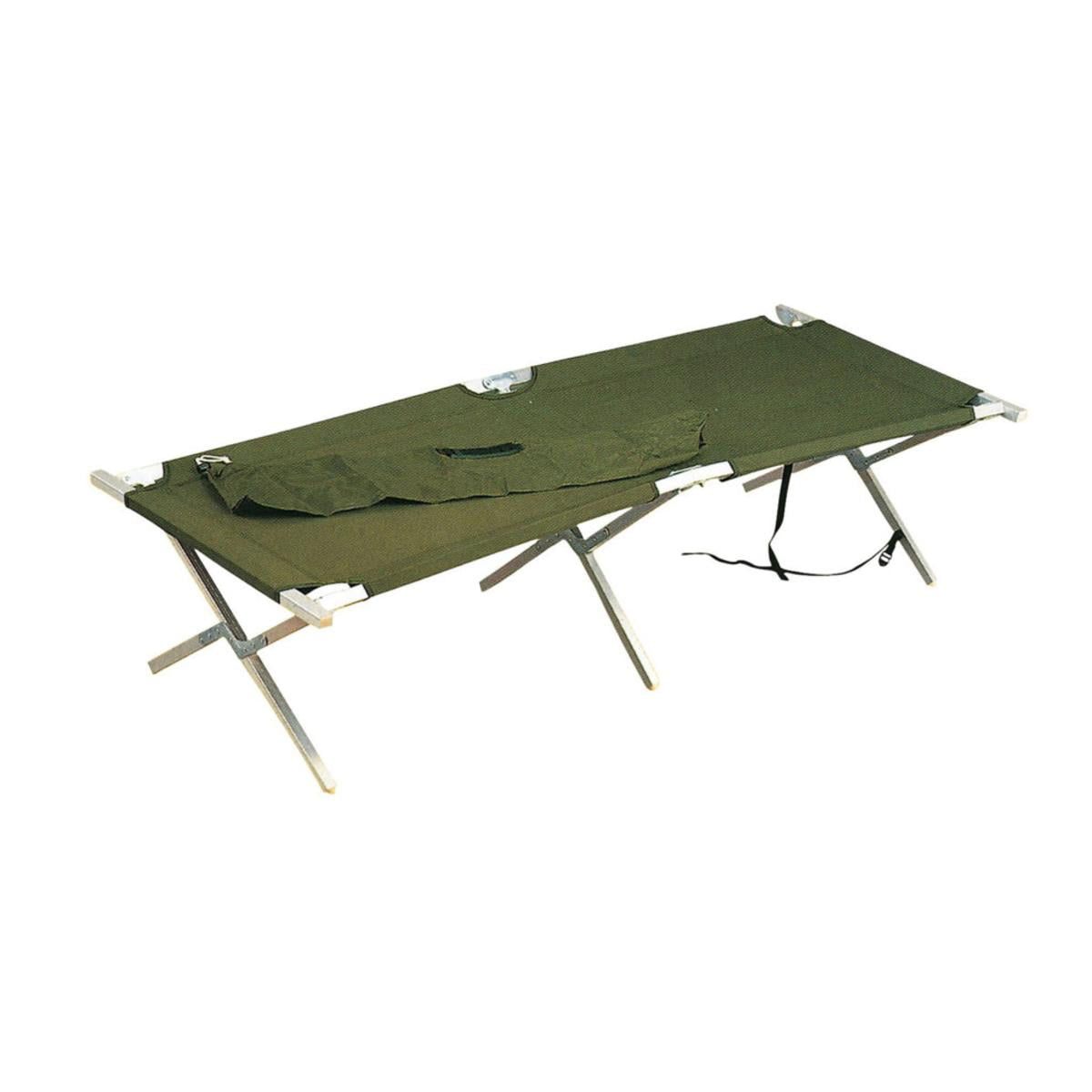 Click here to buy G.I. Type Olive Drab Aluminum Folding Cot by Rothco.