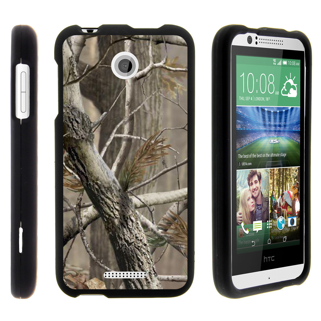 HTC Desire 510, [SNAP SHELL][Matte Black] 2 Piece Snap On Rubberized Hard Plastic Cell Phone Cover with Cool Designs - Hunter Camouflage