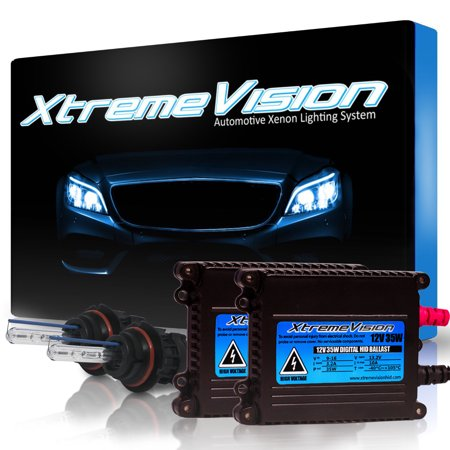 XtremeVision 35W HID Xenon Conversion Kit with Premium Slim Ballast - Bi-Xenon 9004 6000K - Light Blue - 2 Year