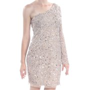 ADRIANNA PAPELL Womens Beige Sequined  One Sleeve Long Sleeve Knee Length Dress  Size: 10