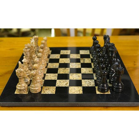 NSA HANDMADE MARBLE CHESS SET BLACK AND FOSSIL CORAL TWO PLAYER CHESS GAME CHESSBOARD - 12 INCHES Hand Decorated Chess Set