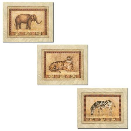 Africa Set (Set of 3 Safari African Animals Art Prints Tiger Zebra Elephant 10x8 Inches Each )