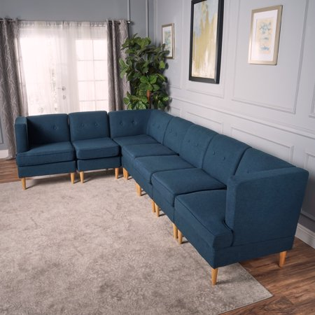 Milltown Mid Century Modern Fabric 7 Piece Sectional Sofa Set, Navy ...