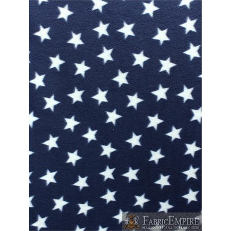 American USA Fleece Fabric Printed ANTI PILL WHITE STARS DARK NAVY BACKGROUND LICENSED