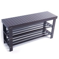 Product Image Zimtown 3 Tier Bamboo Shoe Rack Bench Storage Shelf Organizer Entryway Home Furni Coffee